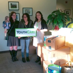 Donation being delivered to Youthcare offices.